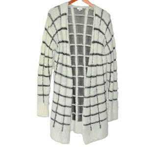 BP Long Open Front Cardigan Checked S